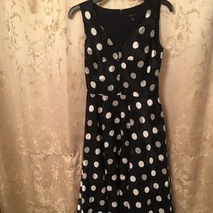 Ann Taylor Sleeveless Polka Dot Swing Dress